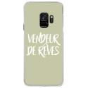 CRYSGALAXYS9VENDREVEVERT - Coque rigide transparente pour Samsung Galaxy S9 avec impression Motifs vendeur de rêves vert