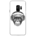 CRYSGALAXYS9VIEUSINGECASQ - Coque rigide transparente pour Samsung Galaxy S9 avec impression Motifs singe avec casque