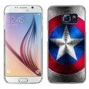 CRYSGALS6BOUCLIER - Coque rigide transparente pour Galaxy S6 impression motif bouclier étoilé aux couleurs de l'Améri