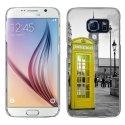 CRYSGALS6CABINEUKJAUNE - Coque rigide transparente pour Galaxy S6 impression motif cabine téléphonique UK jaune