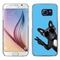 CRYSGALS6CHIENVBLEU - Coque rigide transparente pour Galaxy S6 impression motif chien à lunettes sur fond bleu