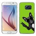 CRYSGALS6CHIENVVERT - Coque rigide transparente pour Galaxy S6 impression motif chien à lunettes sur fond vert