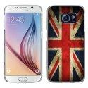 CRYSGALS6DRAPUKVINTAGE - Coque rigide transparente pour Galaxy S6 impression motif drapeau UK vintage