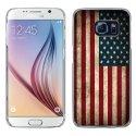 CRYSGALS6DRAPUSAVINTAGE - Coque rigide transparente pour Galaxy S6 impression motif drapeau USA vintage