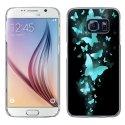 CRYSGALS6PAPILLONSBLEUS - Coque rigide transparente pour Galaxy S6 impression motif papillons bleus