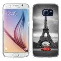 CRYSGALS6PARIS2CV - Coque rigide transparente pour Galaxy S6 impression motif Paris et 2CV rouge