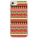 CRYSIPHONE7AZTEQUEJAUROU - Coque rigide transparente pour Apple iPhone 7 avec impression Motifs aztèque jaune et rouge