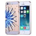 CRYSTALFLOWERIP5SLEU - Coque avec cristaux Fleur bleue pour Iphone SE et 5s