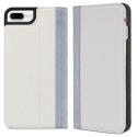 DECODED-DA6IPO7PLCW3WEGY - Etui Decoded Premium Cuir 2 en 1 iPhone 7+/8+ coloris beige et gris