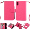 DETACHABLE-IPXFUSHIA - Etui portefeuille 2 en 1 détachable iPhone X coloris fushia