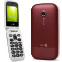 DORO-2404RED - Téléphone sénior à clapet Doro 2404 rouge avec socle de chargement