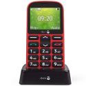DORO1361ROUGETVA - Téléphone sénior Doro 1361 rouge avec socle de chargement