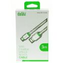 DURATA-LIGHTNNG3M - Câble DURATA iPhone / iPad de 3 mètres coloris vert