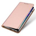 DUX-FOLIOA6PLUSROSE - Etui Galaxy A6 Plus rose fin avec rabat latéral aimant invisible et coque souple