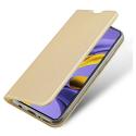 DUX-FOLIOA71GOLD - Etui Galaxy A71 gold fin avec rabat latéral aimant invisible et coque souple