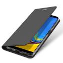 DUX-FOLIOA72018GREY - Etui Galaxy A7-2018 gris foncé fin avec rabat latéral aimant invisible et coque souple