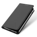 DUX-FOLIOA82018GREY - Etui Galaxy A8-2018 gris foncé fin avec rabat latéral aimant invisible et coque souple