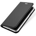 DUX-FOLIOIPXSGREY - Etui iPhone XS gris foncé fin avec rabat latéral aimant invisible et coque souple
