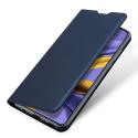 DUX-FOLIONOTE20BLEU - Etui Galaxy Note-20 bleu fin avec rabat latéral aimant invisible et coque souple