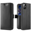 DUX-KADOIP12MININOIR - Etui iPhone 12 Mini noir avec rabat à logements cartes et patte magnétique