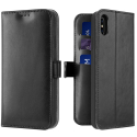 DUX-KADOIPXSNOIR - Etui iPhone X/Xs noir avec rabat à logements cartes et patte magnétique