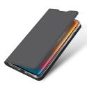 DUX-ONEPLUS6TGRIS - Etui OnePlus 6T gris fin avec rabat latéral aimant invisible et coque souple