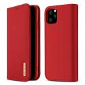 DUX-WISHIP11PROROUGE - Etui iPhone 11 Pro en cuir rouge rabat latéral fonction stand
