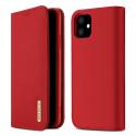 DUX-WISHIP11ROUGE - Etui iPhone 11 en cuir rouge rabat latéral fonction stand