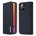 DUX-WISHIP12BLEU - Etui iPhone 12/12 Pro en cuir bleu rabat latéral fonction stand