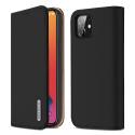 DUX-WISHIP12NOIR - Etui iPhone 12/12 Pro en cuir noir rabat latéral fonction stand