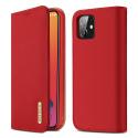 DUX-WISHIP12ROUGE - Etui iPhone 12/12 Pro en cuir rouge rabat latéral fonction stand