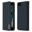DUX-WISHIP8BLEU - Etui iPhone 7/8 en cuir bleu rabat latéral fonction stand