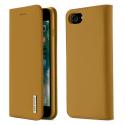 DUX-WISHIP8CAMEL - Etui iPhone 7/8 en cuir camel rabat latéral fonction stand
