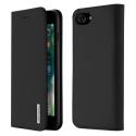 DUX-WISHIP8NOIR - Etui iPhone 7/8 en cuir noir rabat latéral fonction stand