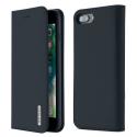 DUX-WISHIP8PLUSBLEU - Etui iPhone 7/8 Plus en cuir bleu rabat latéral fonction stand
