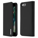 DUX-WISHIP8PLUSNOIR - Etui iPhone 7/8 Plus en cuir noir rabat latéral fonction stand