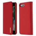 DUX-WISHIP8PLUSROUGE - Etui iPhone 7/8 Plus en cuir rouge rabat latéral fonction stand