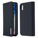 DUX-WISHIPXBLEU - Etui iPhone XS en cuir bleu rabat latéral fonction stand