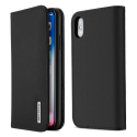 DUX-WISHIPXNOIR - Etui iPhone XS en cuir noir rabat latéral fonction stand