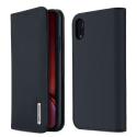 DUX-WISHIPXRBLEU - Etui iPhone XR en cuir bleu rabat latéral fonction stand