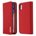 DUX-WISHIPXROUGE - Etui iPhone XS en cuir rouge rabat latéral fonction stand