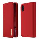DUX-WISHIPXRROUGE - Etui iPhone XR en cuir rouge rabat latéral fonction stand