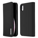 DUX-WISHIPXSMAXNOIR - Etui iPhone XS Max en cuir noir rabat latéral fonction stand