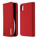 DUX-WISHIPXSMAXROUGE - Etui iPhone XS Max en cuir rouge rabat latéral fonction stand