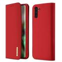 DUX-WISHNOTE10ROUGE - Etui Galaxy Note 10 en cuir rouge rabat latéral fonction stand