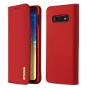 DUX-WISHS10EROUGE - Etui Galaxy S10e en cuir rouge rabat latéral fonction stand