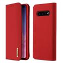 DUX-WISHS10PLUSROUGE - Etui Galaxy S10+ en cuir rouge rabat latéral fonction stand