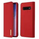 DUX-WISHS10ROUGE - Etui Galaxy S10 en cuir rouge rabat latéral fonction stand