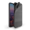 DUXMOJO-P20NOIR - Coque Huawei P20 antichoc flexible noire métal brossé