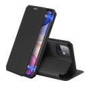 DUXSKINX-IP11NOIR - Etui antichoc iPhone 11 noir fin avec rabat latéral aimant invisible et coque arrière flexible